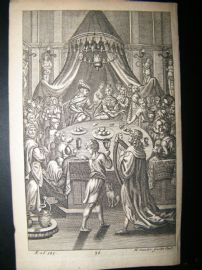 Dryden Works of Virgil 1709 Classical Engraving. Feast. Youth's & Virgins